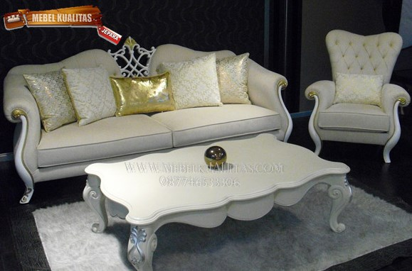 French White Sofa Set