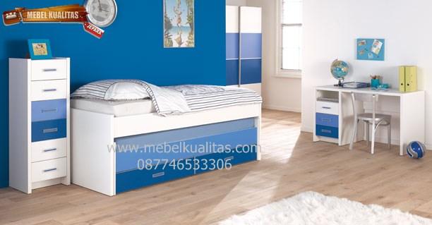 Kamar set anak minimalis KTM AE006, Kamar set minimalis duco biru KTM AE006, set kamar anak minimalis duco biru mewah KTM AE006