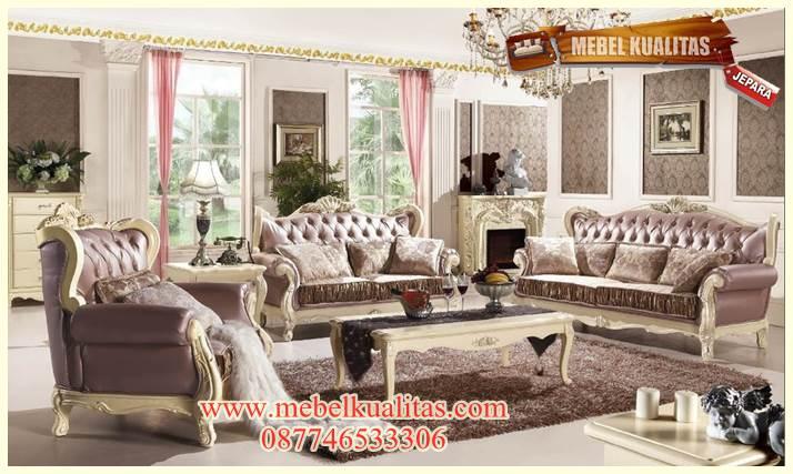 set kursi tamu sofa klasik mewah purple lux KTS AF 102