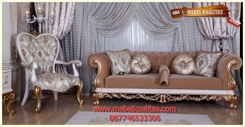 Set kursi tamu sofa klasik mewah terbaru Sweet KTS AO 114