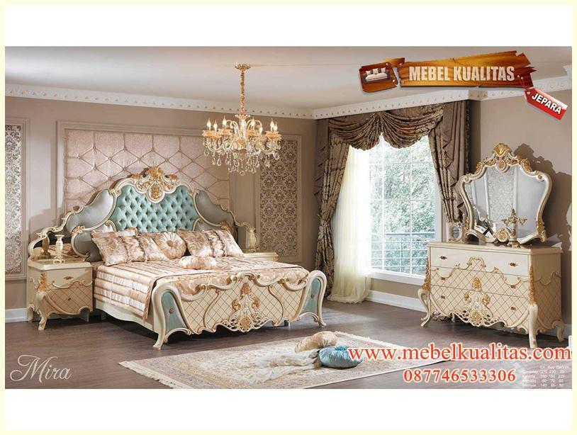set kamar tidur dewasa Mira klasik ukir m9odern mewah terbaru KTM BB 049