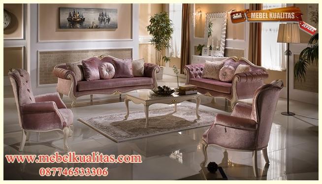 set kursi tamu sofa klasik mewah terbaru KTS AE 107