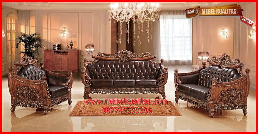 Set kursi tamu sofa ukir klasik mewah terbaru Majapahit KTS AH  137