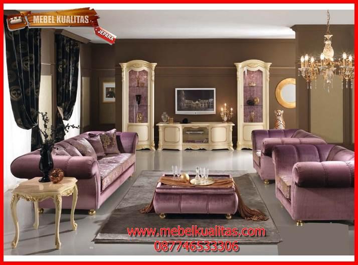 Set kursi tamu sofa klasik mewah terbaru modern magenta KTS AE 144