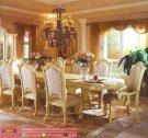 Set Meja Makan Mewah Gold Klasik Furniture Terbaru
